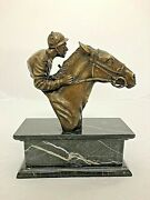 Sculpture Horse And Jockey Bronze Racing Figurine Bust On Base Statue Ornament