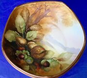 Nippon Morimura Bros. Antique Hand Painted Acorns And Nuts Footed Bowl Meiji