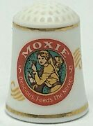 1980 Franklin Porcelain Moxie Soft Drink Soda Country Store Thimble Collectible