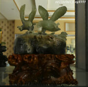 Collect Chinese 100 Dongbei Xiu Yu Jade Hand-carving Bird Eagle Mountain Statue