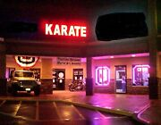Lighted Red Karate Sign - 9.5and039 X 2.5and039
