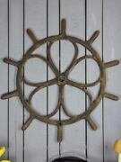Large Antique French Steering Wheel From A Boat 40andfrac12