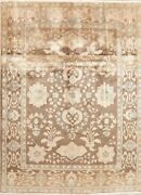 Antique Look Muted Floral Brown Area Rug Distressed All-over Hand-knotted 8'x11'