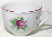 Ethan Allen Coffee Mug Hand Made In Portugal Porcelain Tea Cup White Red Flower