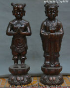 Chinese Bronze Copper Wealth God Lotus Pure Youth And Maiden People Statues Pair
