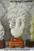 China Afghanistan Jade Stone Hand Carved Fengshui Bamboo Bird Bottle Vase Statue