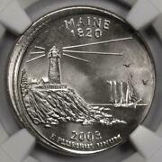 2003 Ngc Ms66 Off Center Maine Statehood Quarter Mint Error Extremely Rare Date