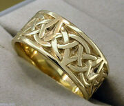 R027 Genuine 9k 9ct Yellow Rose Or White Gold Wide Keltic Celtic Band Ring