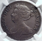 1709 Great Britain Uk Queen Anne Antique Silver Half English Crown Ngc I81745