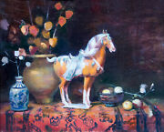 Tang Horse Chinese Lanterns Still Life Oil Painting By Keith Gunderson