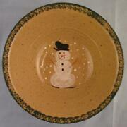 Three Rivers Pottery Snowman Huge Serving Bowl 11.5 Green Edge Michelle 1991