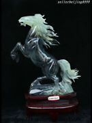 China Xiuyan Jade Hand Carved Fengshui Wealth Dynasty Running Lucky Horse Statue