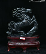 China Xiuyan Jade Hand Carved Fengshui Wealth Dynasty Palace Lucky Horse Statue