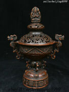 Old China Bronze Dragon Head 4 Arms Buddha 8 Charm Symbol Incense Burner Censer