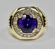 Yellow Gold Fn 2 Ct. T.w. Mens Round Amethyst Engagement Wedding Pinky Ring Band