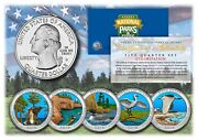 2018 Colorized National Parks America The Beautiful Coins Set Of All 5 Quarters