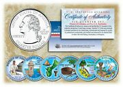 2009 Colorized Us Mint Territories Quarters Set Of 6 Coins With Capsules
