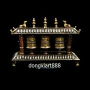 Tibet Pure Red Copper 24k Gold Inlay Turquoise Six Syllable Mantra Prayer Wheels