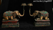 """10"""" Tibet Buddhism Copper Red Coral Turquoise Elephant Candle Holder Candlestick"""