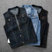 Single Breasted Closure Casual Denim Vest For Male V-neck Outdoors Wear Clothing