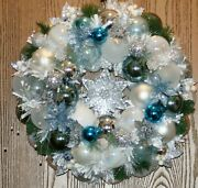 Beautiful Bluesilver And White Frozen Christmas Ornament Wreath One Of A Kind