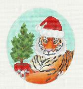 Tiger In Santa Hat With Christmas Tree Oval Hp Needlepoint Canvas Scott Church