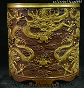 China Palace Pure Bronze Gold Gilt 9 Loong Dragon Brush Pot Pencil Pen Container