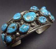 Old Vintage Navajo Sterling Silver And Natural Bisbee Turquoise Cuff Bracelet