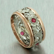 Antique Art Deco 14k Solid Yellow And White Gold Red Ruby Filigree Wide Band Ring