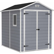 Keter Manor 6and039 X 8and039 Resin Storage Shed Gray/white