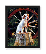 Pointer Puppy Dog In Wagon Kids Room Animal Wall Picture Black Framed Art Print