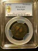 1788 Vermont Colonial Copper Pcgs F15 Bust Right
