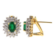 14ct Yellow Gold Oval Emerald Cut And Diamond Cluster Stud Earrings