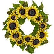 Nearly Natural 22 Sunflower Wreath