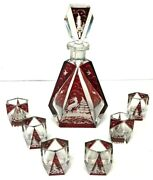 Art Deco Decanter 6 Cordials Bohemian Czech Ruby Red Cut To Clear Christmas Vtg