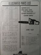 Mcculloch Chainsaw Super 610 Pro Mac 605 610 650 Eager Beaver 3.7 Parts Manual