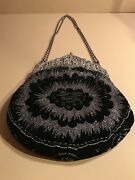 An Antique French Silver 800 Frame On A Black Velvet Purse