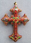 Jay Strongwater Medieval Gothic Jeweled Cross Ornament Elements Nib