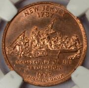 1999 D Ngc Ms62 Missing Clad Layer New Jersey Quarter Mint Error Red Copper