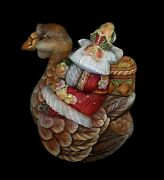 Magnificent Russian Santa Hand Carved And Painted On A Goose 0938