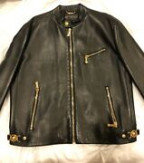 Menandrsquos Versace Couture Authentic Leather Jacket Mens 44/58 Made In Italy