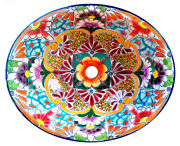 134 Small Bathroom Sink 16x11.5 Mexican Ceramic Hand Paint Drop In Undermount