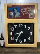 Vintage Winston America Best Lighted Sign With Working Clock In Good Condition