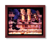 Old Cowboy Boots And Spurs Western Rodeo Wall Picture Cherry Framed Art Print