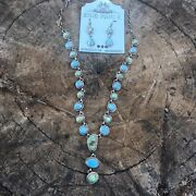 Navajo Sterling Silver Golden Hills And Sonoran Turquoise Lariat Necklace Set