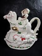Elf And Rocking Horse Teapot With Lid - Lenox - In Box