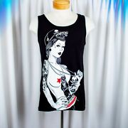 Fatal Clothing Black With Tatoo Girl With A Skeleton Pirate Hat Men Tank Top