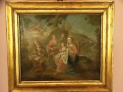 Italian Old Painting Oil On Canvas Xvi 1500 Xvii 1600 Escape In Egypt Holy Famil