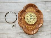 Vintage English 7 Day Mahogany Cherry Wall Clock German Case 1950and039s Glass Dome