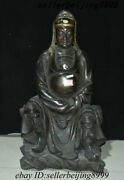Antique Chinese Old Temple Purple Bronze Gold People God Immortal Emperor Statue